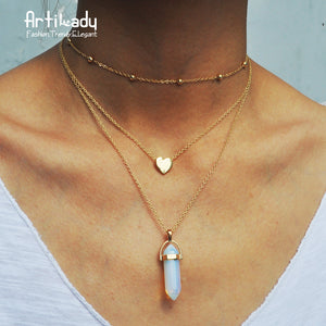 Layered Gold Crystal Necklace