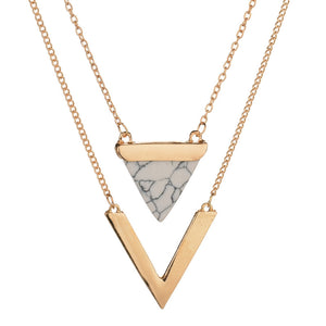 Geometric Triangle Layered Necklace