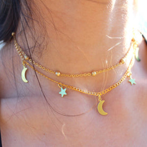 Moon + Stars Choker Necklace