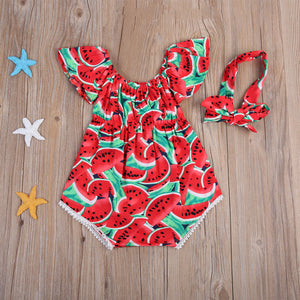"""Zara"" Watermelon Romper (2 pc Set)"