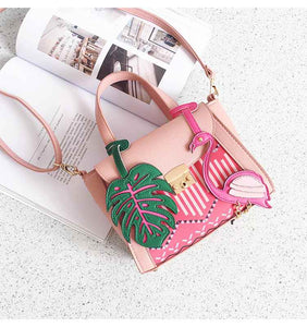 Flamingo + Palm Leaf Crossbody Bag