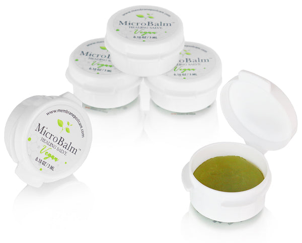 (5 Pack) MicroBalm Vegan Minis (3ml Button Jars) - Membrane Post Care Products Inc.