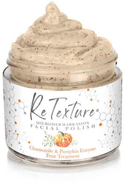 """ReTexture"" Pumpkin Fruit Enzyme & Chamomile - MicroDermabrasion Facial Polish and Botanical Facial Treatment (Vegan - 2.3oz Glass Jar) - Membrane Post Care Products Inc."