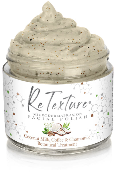 """ReTexture"" Creamy Coconut Milk, Coffee & Chamomile (Limited Edition) - MicroDermabrasion Facial Polish and Botanical Facial Treatment (Vegan - 2.3oz Glass Jar) - Membrane Post Care Products Inc."
