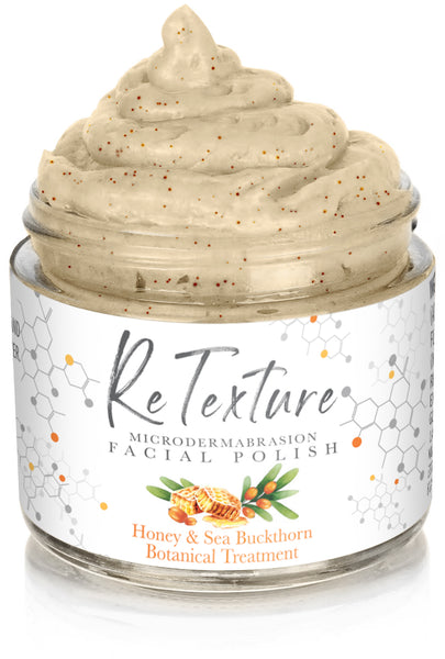 """ReTexture"" Honey & Sea Buckthorn - MicroDermabrasion Facial Polish and Botanical Facial Treatment (2.3oz Glass Jar) - Membrane Post Care Products Inc."
