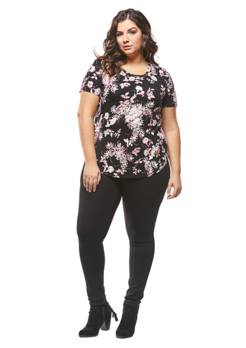 Dex Plus Floral Short Sleeve Top