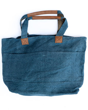 Washed Linen Wide Tote - Charcoal