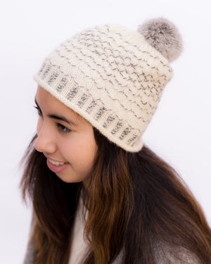 Quilted Lattice Pom Pom Beanie Kit