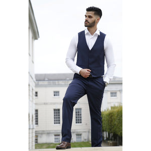 Navy Waist Coat - The Stretch Suit