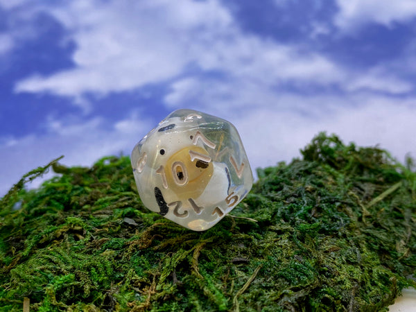 Dairy20- D20 dice with a Cow inside- Single D20