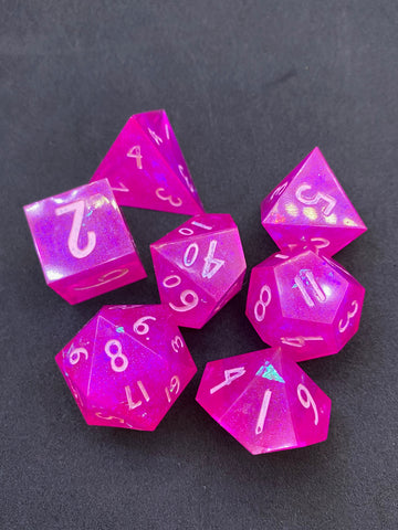 Magenta Halo Handcrafted Dice Set