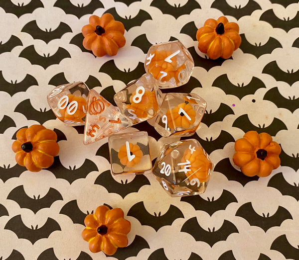 Pumpkin Polyhedrals- 7 pc Polyhedral Dice Set With Tiny Pumpkins Inside