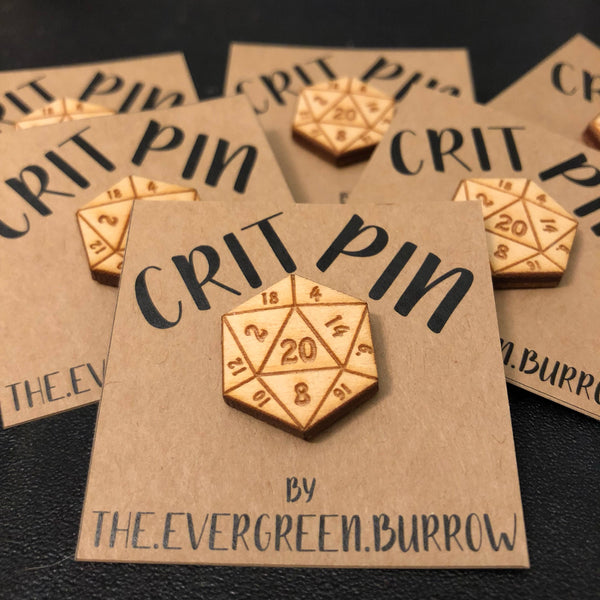 D20 Critical Hit Wooden Pin