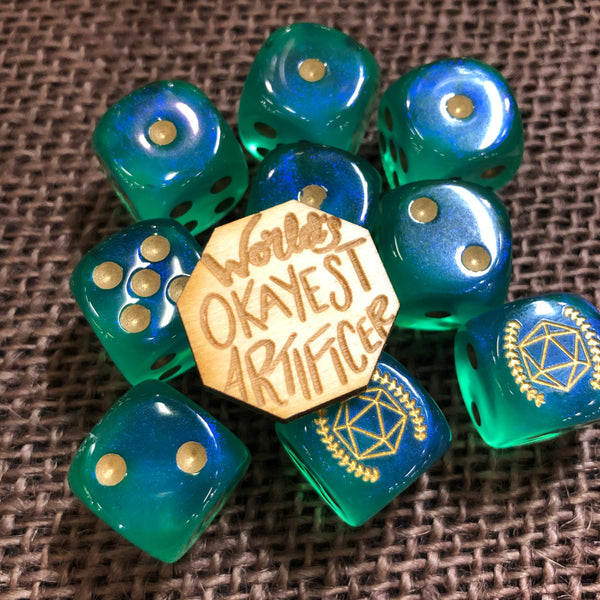 World's Okayest Artificer Wooden Tabletop Class Pin