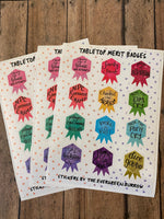 Tabletop Merit Badge Sticker Sheets D&D Stickers Achievement Tabletop