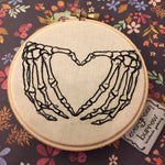 Spooky love Skeleton Hands 4 inch Embroidery Hoop
