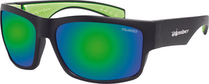 TIGER BOMB SUNGLASSES MATTE BLACK W/GREEN MIRROR POLARIZED