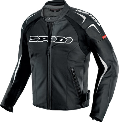 TRACK WIND LEATHER JACKET BLACK/WHITE E56/US46