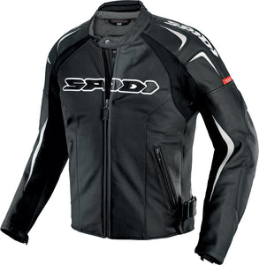 TRACK WIND LEATHER JACKET BLACK/WHITE E54/US44