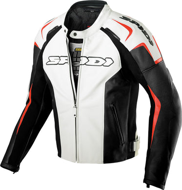 TRACK LEATHER JACKET WHITE/RED/BLACK E58/US48