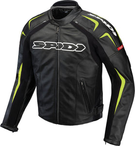 TRACK LEATHER JACKET BLACK/GREEN E56/US46