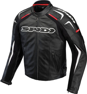 TRACK LEATHER JACKET BLACK/WHITE E56/US46