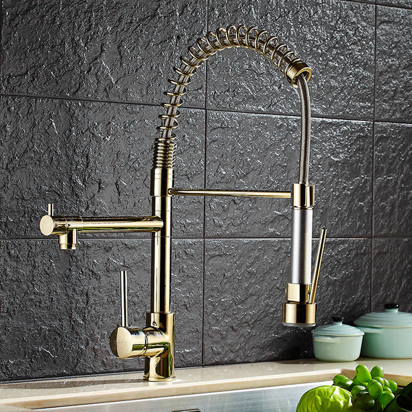 Pull Down Single Handle Sprayer w/Pot Filler in Brass or Chrome - Edessa Kitchen & Bath