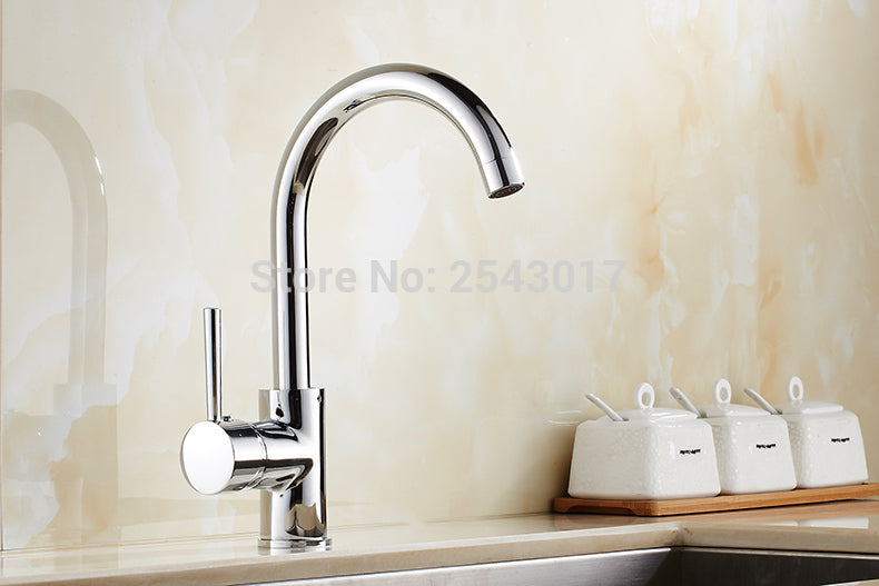 Classic Single Handle Kitchen Faucet in Chrome - Edessa Kitchen & Bath