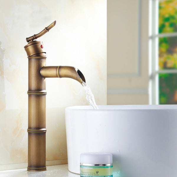 High Style Bamboo Bath Faucet in Antique Brass - Edessa Kitchen & Bath
