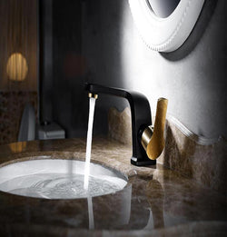 Short Style Premium Bath Faucet in Black w/Gold - Edessa Kitchen & Bath