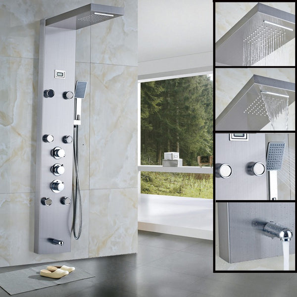 Shower Panel with 6 Shower Jets, Tub Spout and Hand Shower in Stainless Steel - Edessa Kitchen & Bath