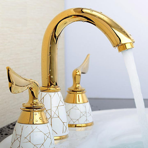 Luxury Widespread Bath Faucet in Gold - Edessa Kitchen & Bath