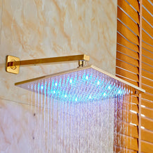"LED Shower Set with 12"" Square Shower Head, Tub Spout and Hand Shower in Gold - Edessa Kitchen & Bath"