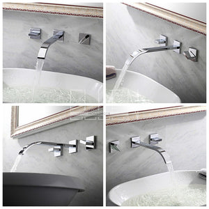 Wall Mounted Widespread Bath Faucet in Chrome w/Cross Knobs - Edessa Kitchen & Bath