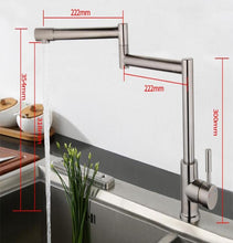 Rotating Kitchen Pot Filler at Two Axis Points in Brushed Stainless Steel - Edessa Kitchen & Bath