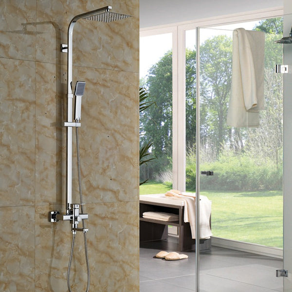 "8/10/12"" Rainfall Shower Set with Square Shower Head, Tub Spout and Hand Shower in Chrome - Edessa Kitchen & Bath"