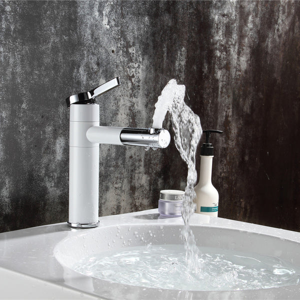 Rotating Short or High Style Bath Faucet w/Rotating Spout in White w/Chrome - Edessa Kitchen & Bath