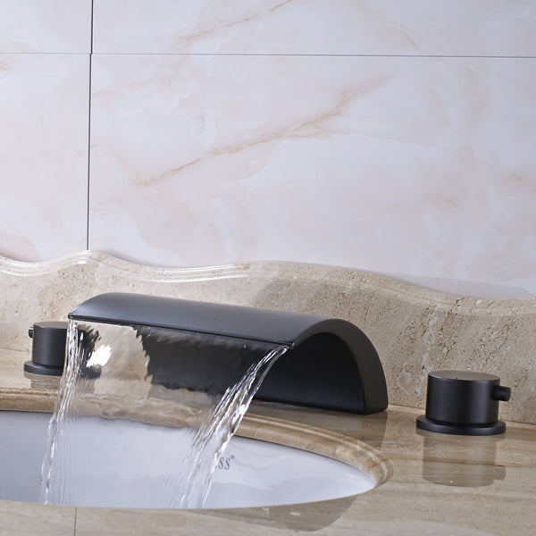 Waterfall Widespread Bath Faucet in Oil Rubbed Black (2 styles) - Edessa Kitchen & Bath