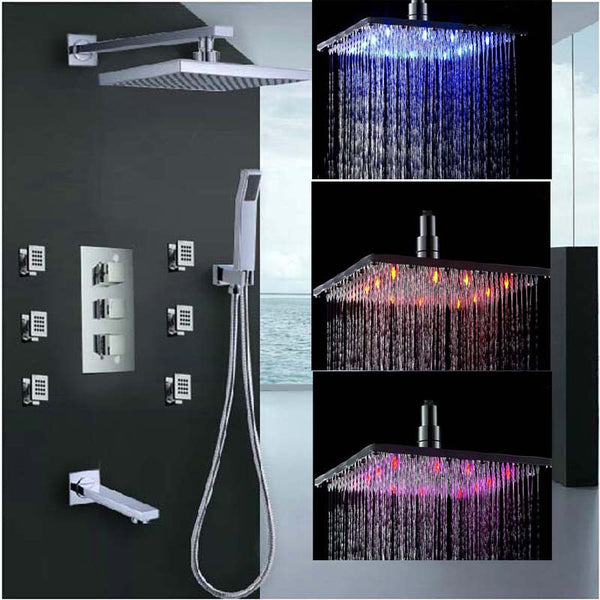 "8/10/12/16"" LED Rainfall Shower Set with Square Shower Head, 6 Jets, Tub Faucet and Hand Shower in Chrome - Edessa Kitchen & Bath"