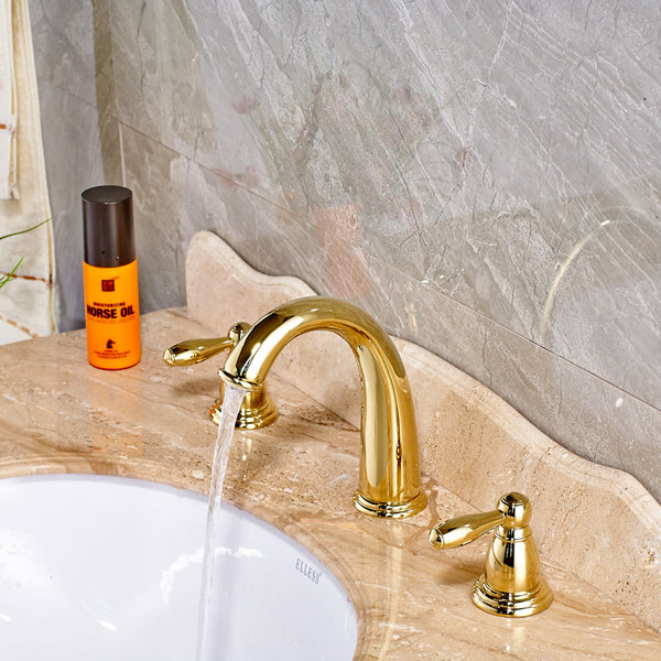 Traditional Widespread Bath Faucet in Gold, Chrome or Brushed Nickel - Edessa Kitchen & Bath