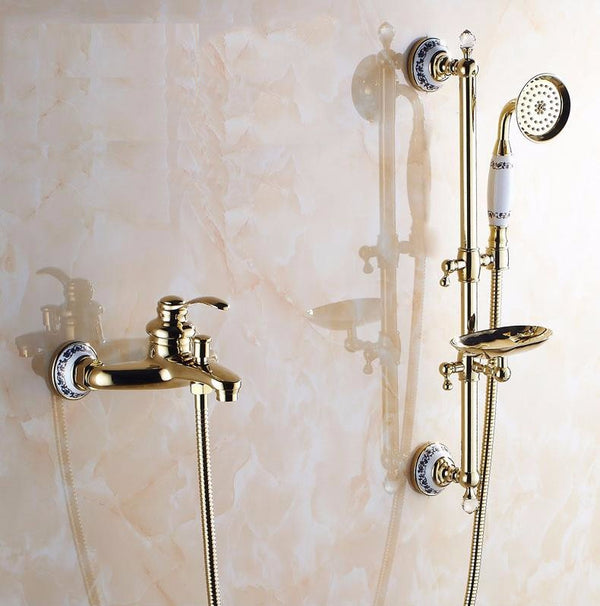 Shower Set with Slide Bar, Tub Spout and Soap Dish in Antique Bronze, Gold and Rose Gold - Edessa Kitchen & Bath