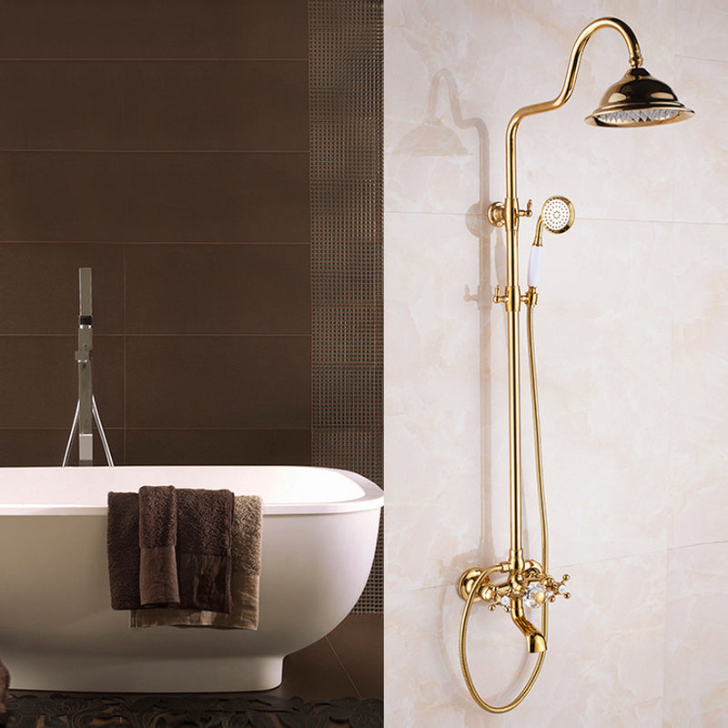 Rainfall Shower Set with Slide Bar, Tub Spout and Hand Shower in Gold - Edessa Kitchen & Bath