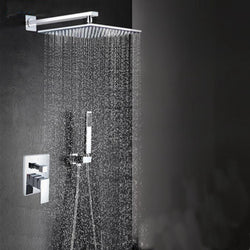"8/10/12/16"" Rainfall Shower Set with Square Shower Head and Hand Shower in Chrome - Edessa Kitchen & Bath"