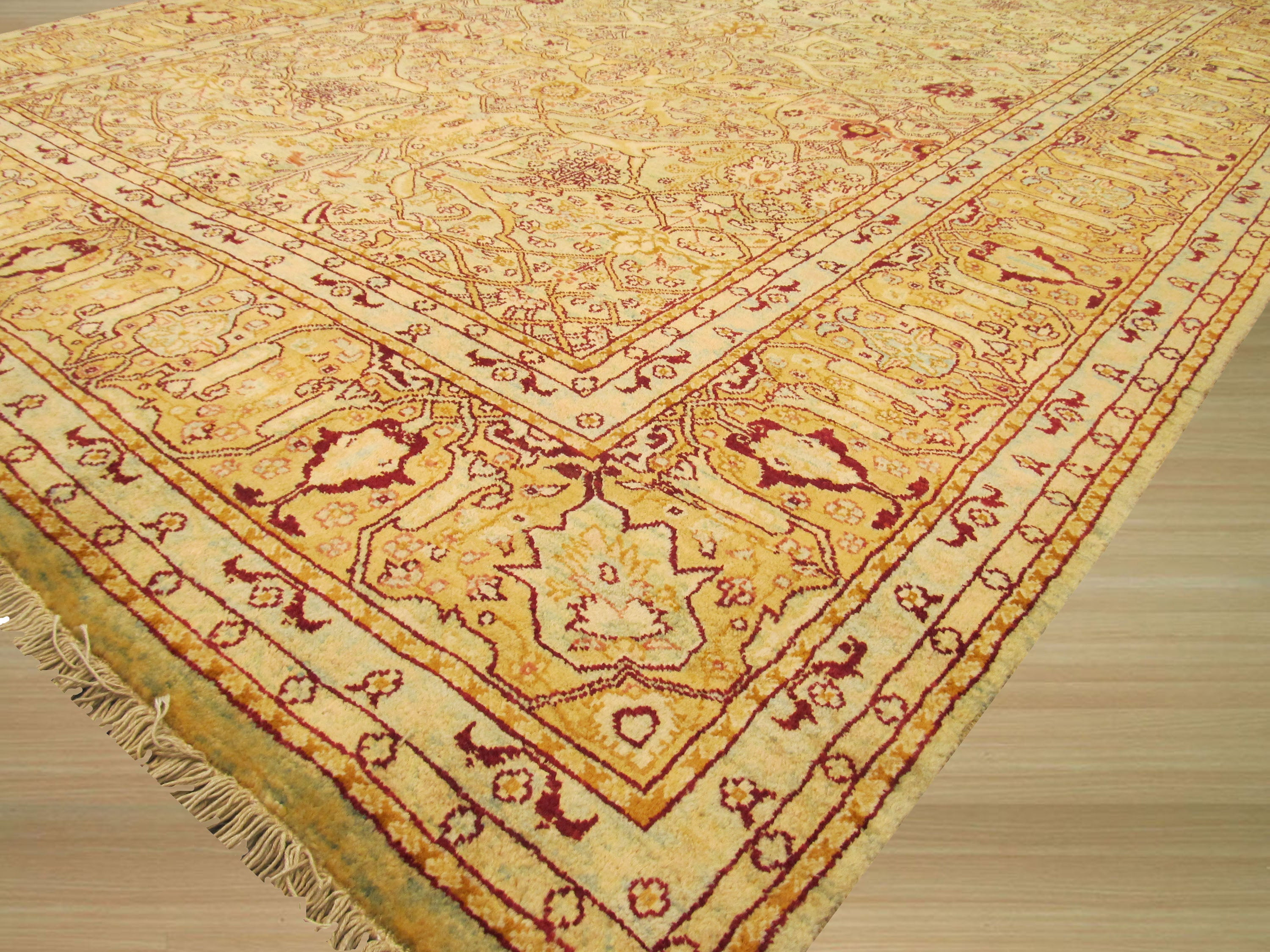 EORC Hand-knotted Wool Green Traditional Oriental Peshawar Rug