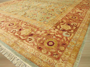 EORC Hand-knotted Wool Blue Traditional Oriental Peshawar Rug