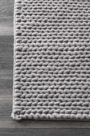 nuLOOM Light Grey Hand Woven Chunky Woolen Cable CB01D Area Rug