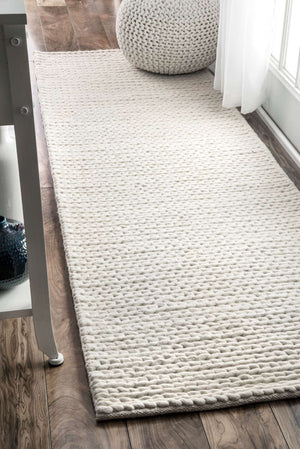 nuLOOM Off White Hand Woven Chunky Woolen Cable CB01 Area Rug