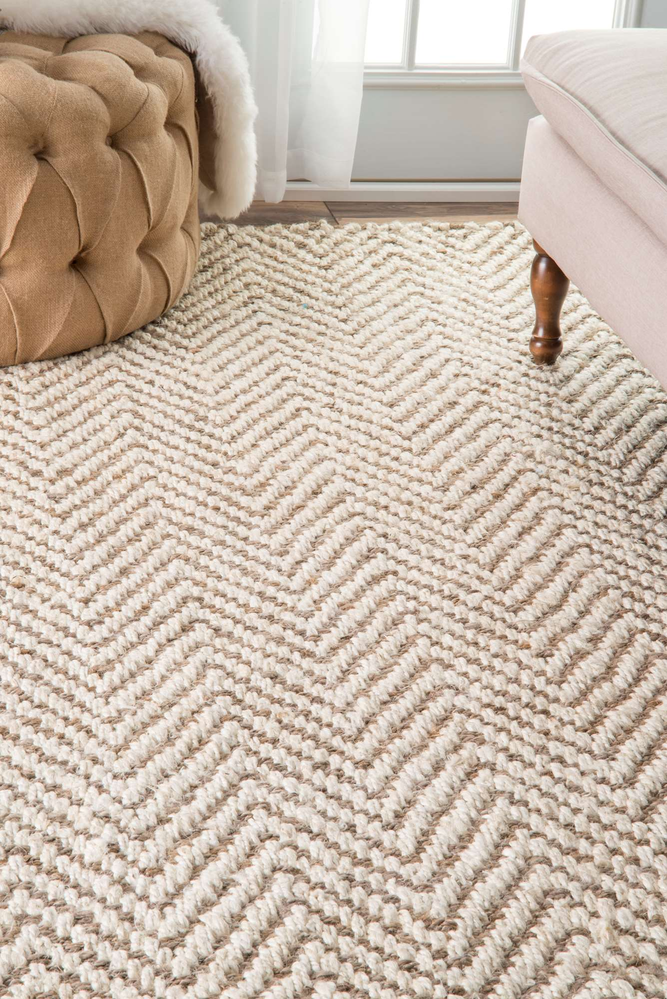 nuLOOM Bleached Vania Chevron Jute CLWA03A Area Rug