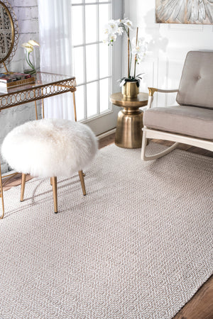 nuLOOM Hand Loomed Diamond Cotton Check Taupe Area Rug
