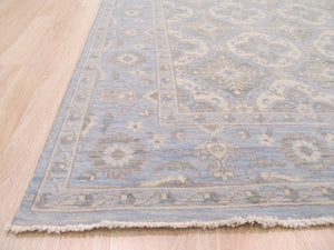 EORC Hand-knotted Wool Blue Traditional Geometric Kotan Rug